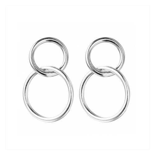 STERLING SILVER HANGING HOOP EARRINGS
