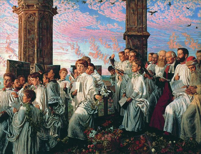 A painting of a choir singing on the top of a church tower at sunrise.