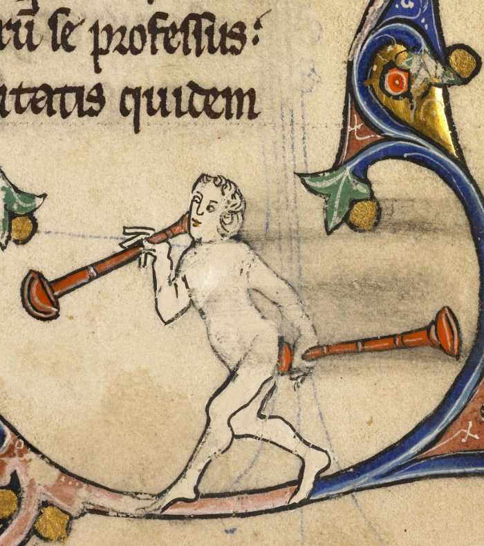 A medieval manuscript cartoon of a naked person holding trumpets to their mouth and bottom.