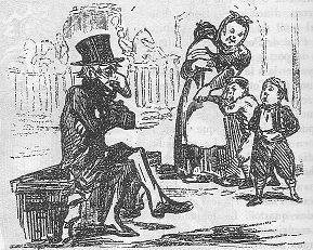 A vintage black and white illustration of a man with a very large nose. A mother and her curious children watch him.