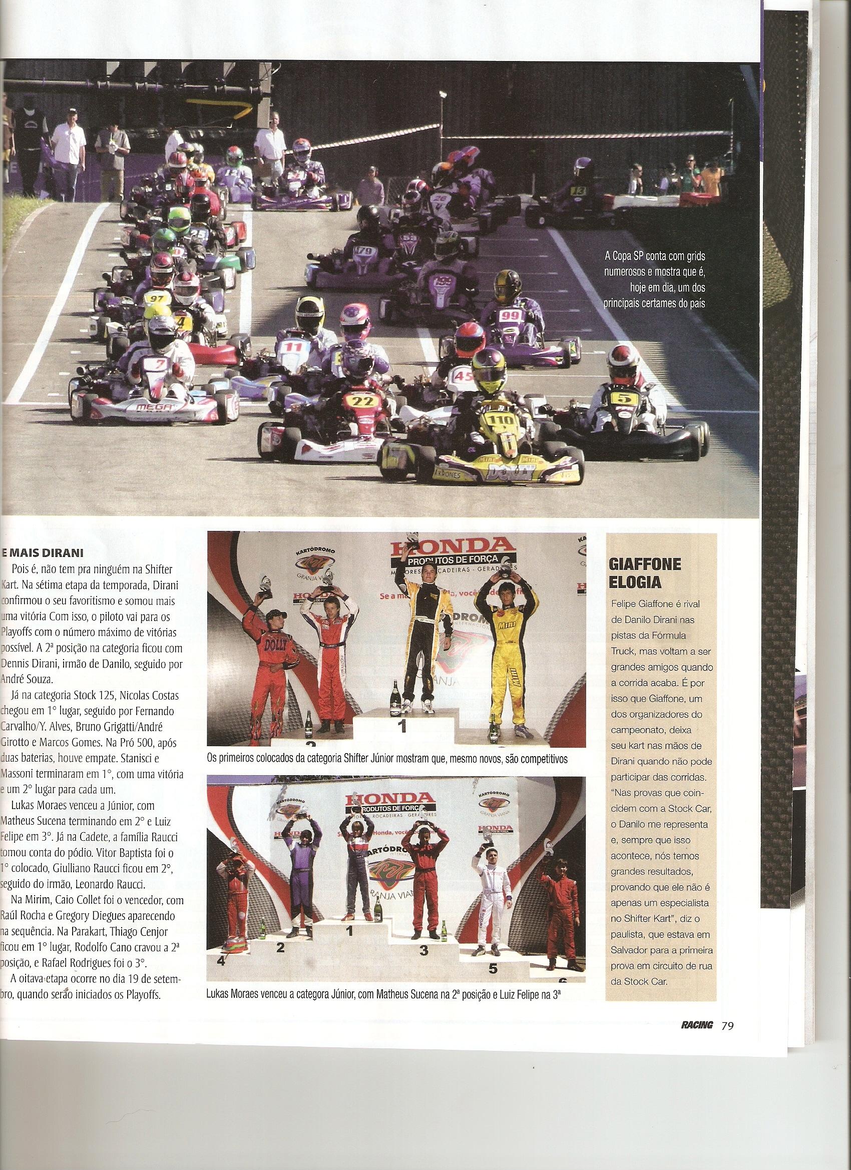 Pódio de Victor está na Revista Racing