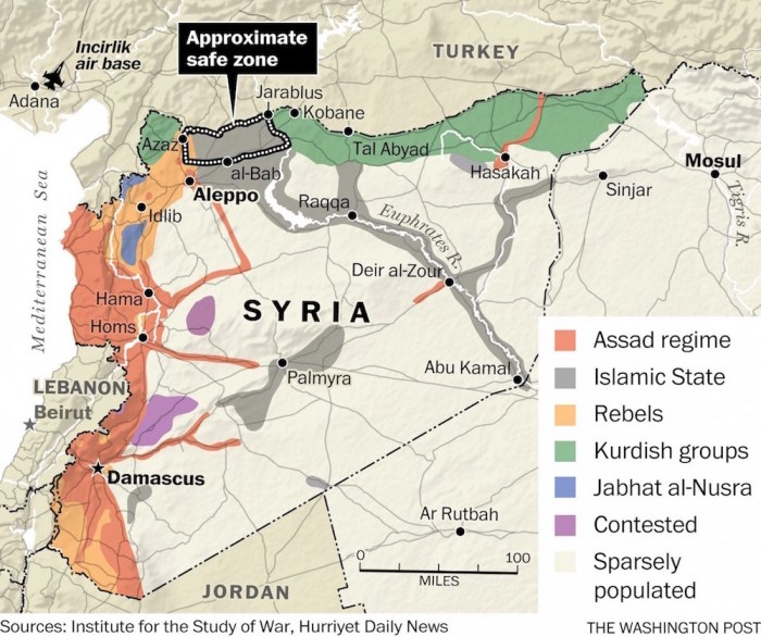 ISIS-held territory seen in dark grey forms a corridor directly up to the Syrian-Turkish border - or more accurately, begins at the Turkish-Syrian border. In recent days, this corridor has faced being completely cut off by joint Syrian-Russian gains in and around Aleppo and toward the western bank of the Euphrates River. East of the Euphrates is already held by Kurds and Syrian forces. NATO is clearly providing ISIS' primary support, and yet ISIS is alleged to have been behind an attack on a NATO member.
