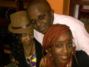 My cousin Jem, her friend Muyu and I during the party in August