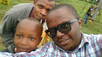Selfie with some of the kids and Rotich