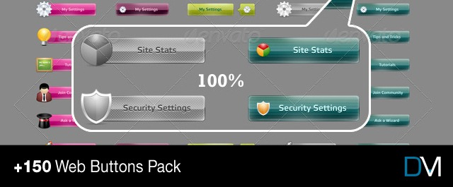 +150 Web Buttons Pack