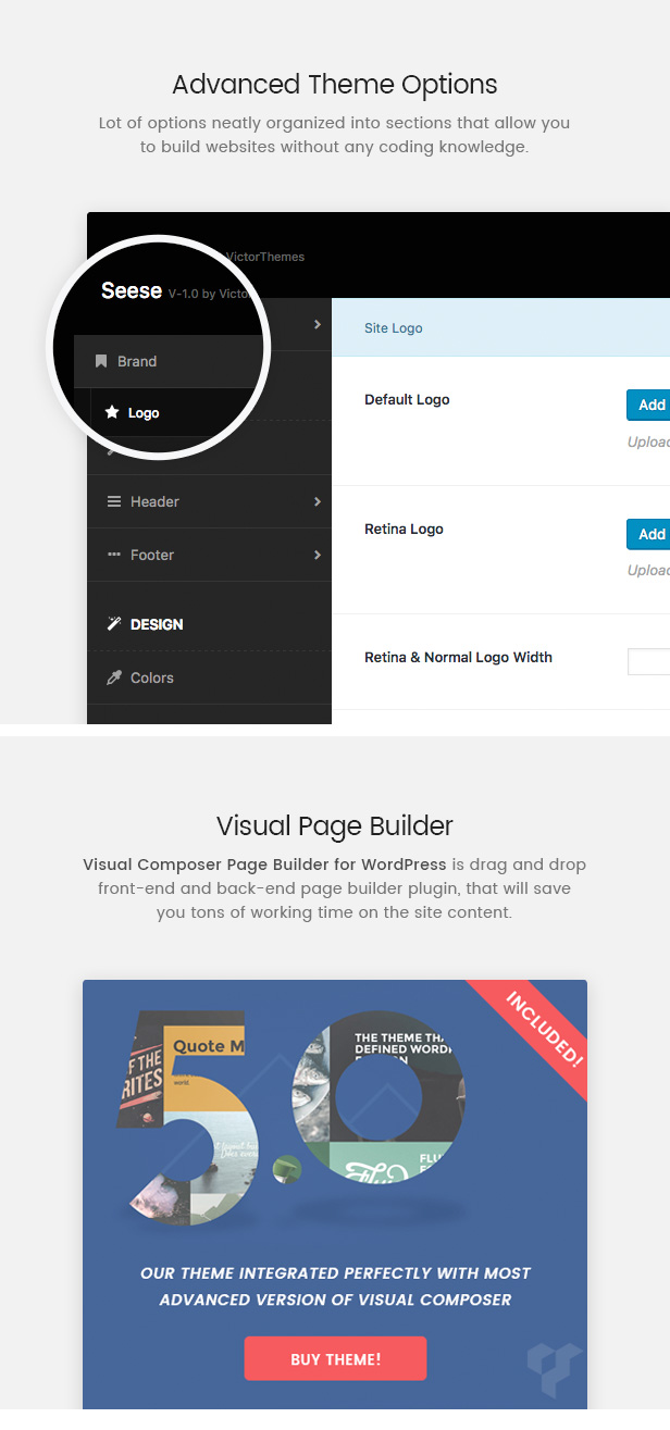 Seese Theme Options & Visual Composer
