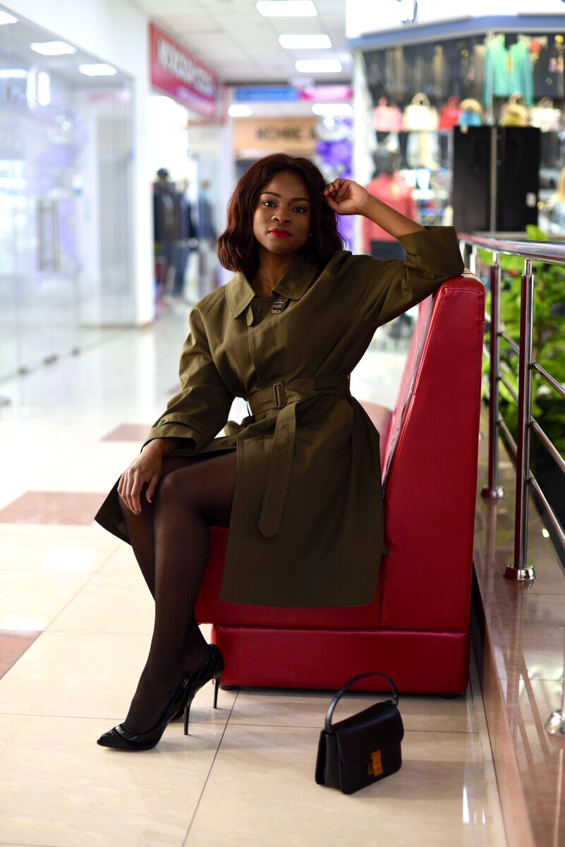 Styling green trench coat