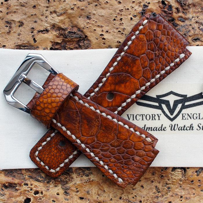 B & R Handmade ostrich watch strap