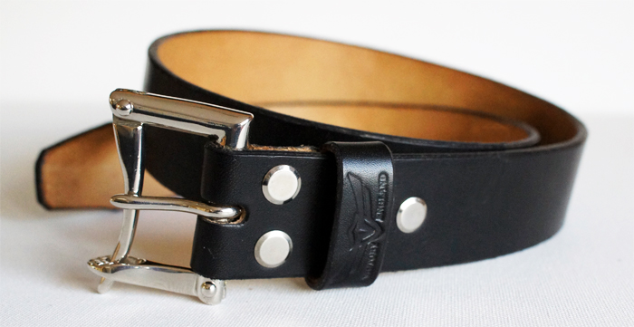 firefighter belt in black bridle leather