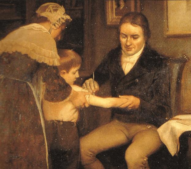 رسم تخيلي للطبيب إدوارد جينر خلال قيامه بأولى عملية تلقيح ضد الجدري على الطفل جيمس فيبس