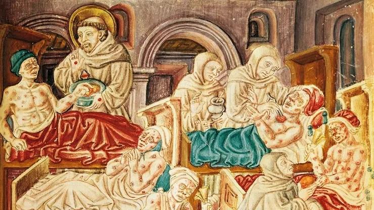 رسم تخيلي لعدد من المرضى خلال العصور الوسطى و عجز الطب خلال تلك الفترة عن مساعدتهم