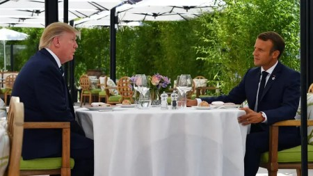 Image result for Macron, Trump break the ice with surprise pre-G7 lunch