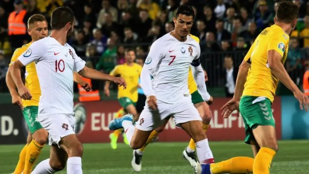 Image result for Ronaldo scores four times as Portugal rout Lithuania