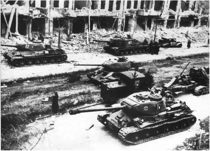 Soviet tanks in the capital, Berlin