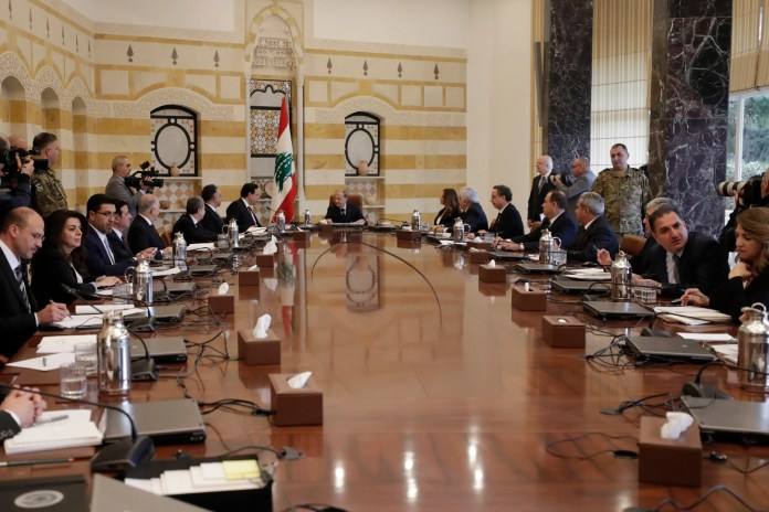 The first meeting of the Lebanese government headed by President Michel Aoun