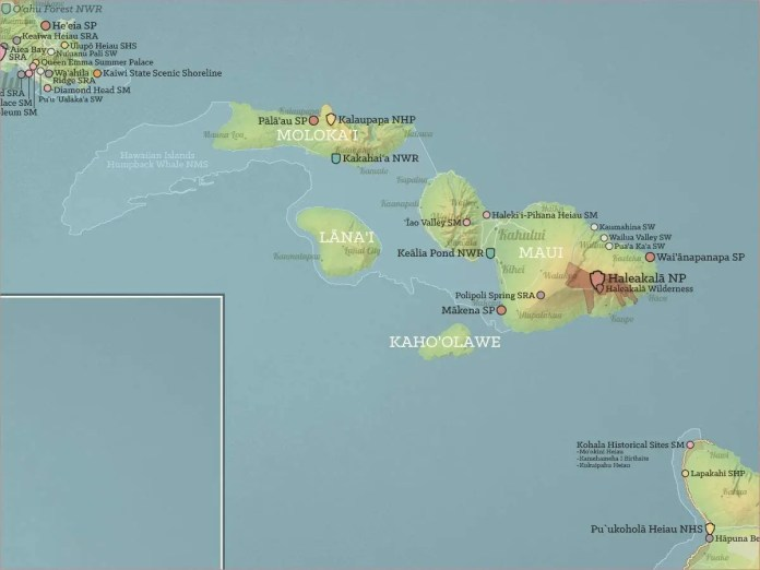 Map highlighting the island of Molokai, Hawaiian Archipelago