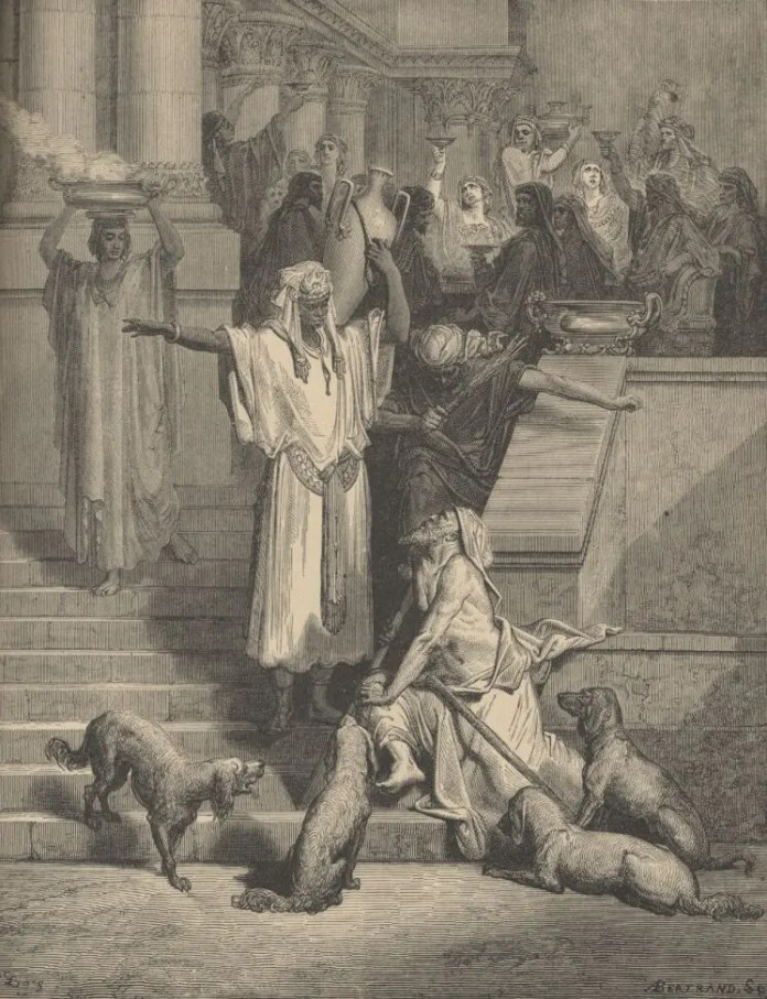 An illustration that embodies the story of Lazarus and the rich