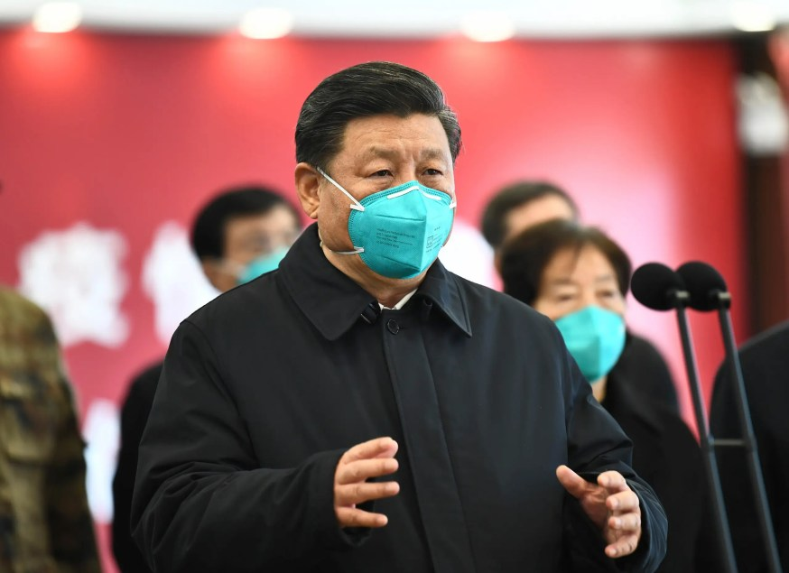 Chinese President Xi Jinping talks by video with patients and medical workers at the Huoshenshan Hospital in Wuhan in central China's Hubei Province on March 10, 2020. (AP)