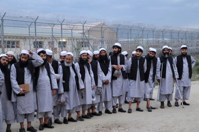 Newly freed Taliban prisoners are seen at Bagram prison, north of Kabul, Afghanistan, on April 11, 2020. (Reuters)