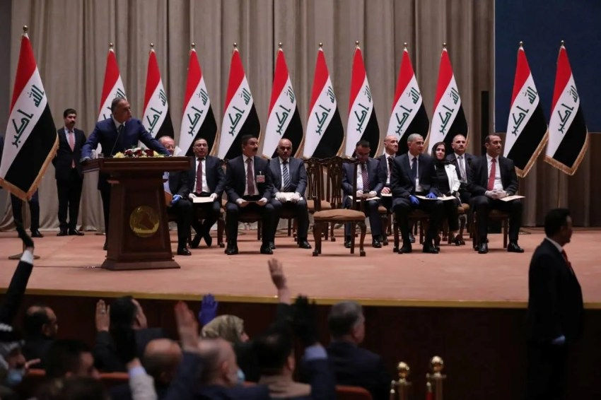 Iraqi Prime Minister-designate Mustafa al-Kadhimi delivers a speech during the vote on the new government at the parliament headquarters in Baghdad. (Reuters)