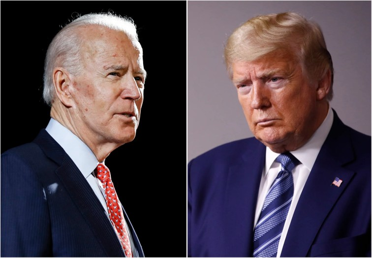 In this combination of file photos, former Vice President Joe Biden speaks in Wilmington, Del., on March 12, 2020, left, and President Donald Trump speaks at the White House in Washington on April 5, 2020. (File photo: AP)