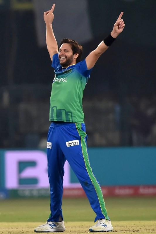 Multan Sultans's Shahid Afridi celebrates at the Multan Cricket Stadium, February 26, 2020. (AFP)