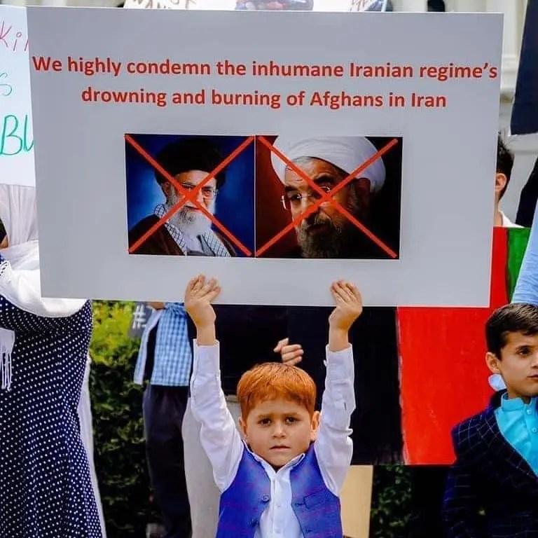 تجمع اعتراضی افغانهای مقیم لندن علیه رژیم حاکم بر ایران