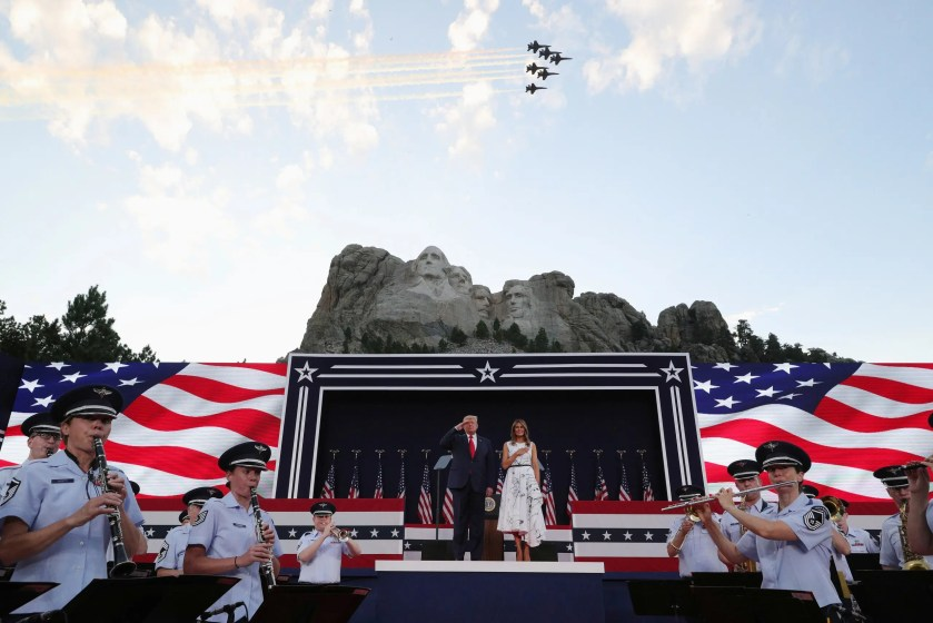 US President Trump and first lady Melania Trump attend South Dakota's US Independence Day Mount Rushmore fireworks celebrations at Mt. Rushmore in South Dakota. (Reuters)