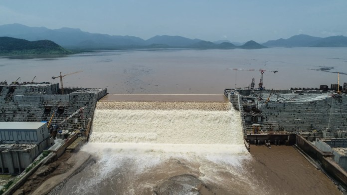 The Grand Ethiopian Renaissance Dam on the Blue Nile on July 21