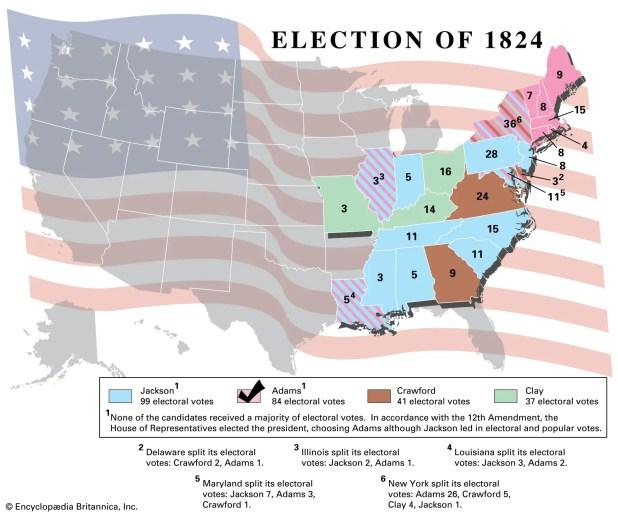 خريطة تبرز تصويت المجمع الانتخابي عام 1824