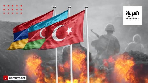 أعلام تركيا وأذربيجان وأرمينيا