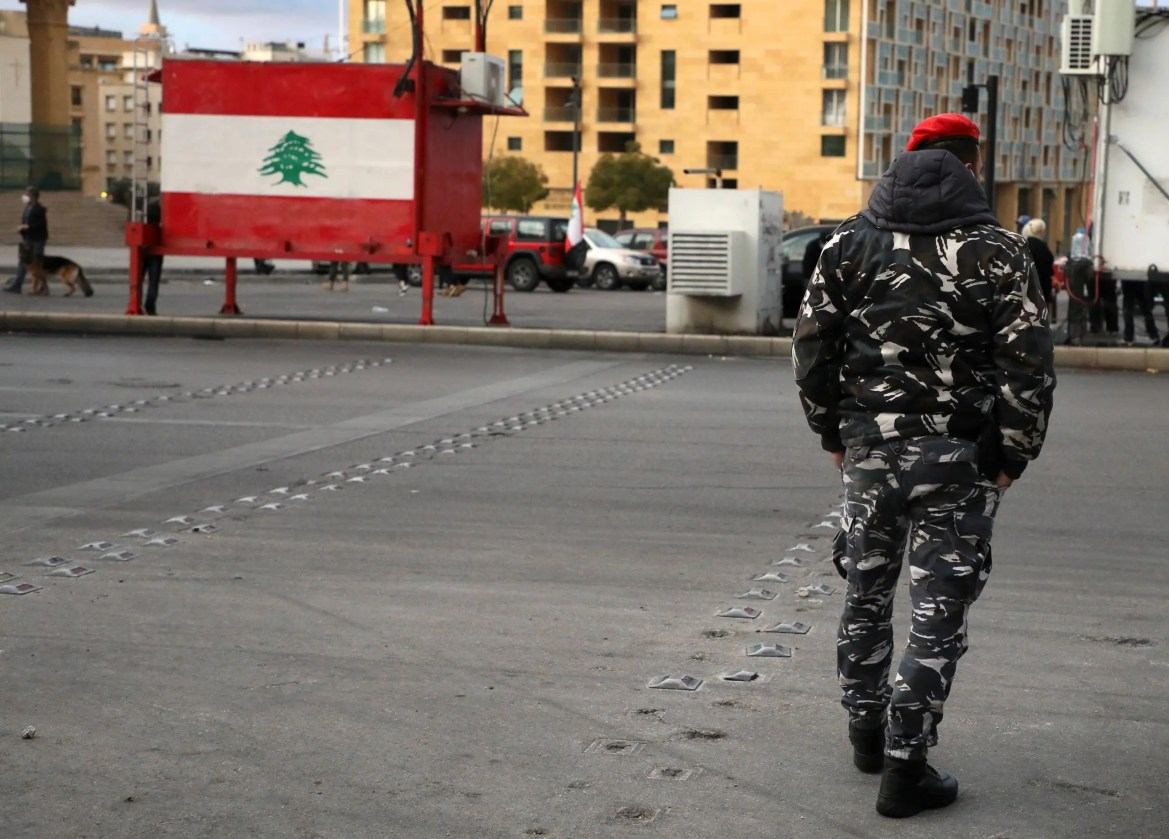 A Lebanese police walks in Beirut, Lebanon March 4, 2021. Picture taken March 4, 2021. (Reuters)