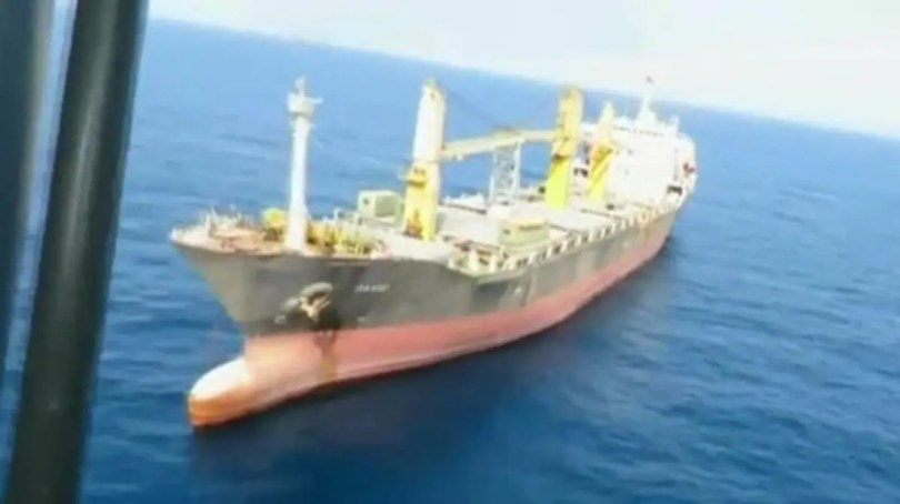 Iranian ship 'Iran Saviz' in 2018. (Al Arabiya)