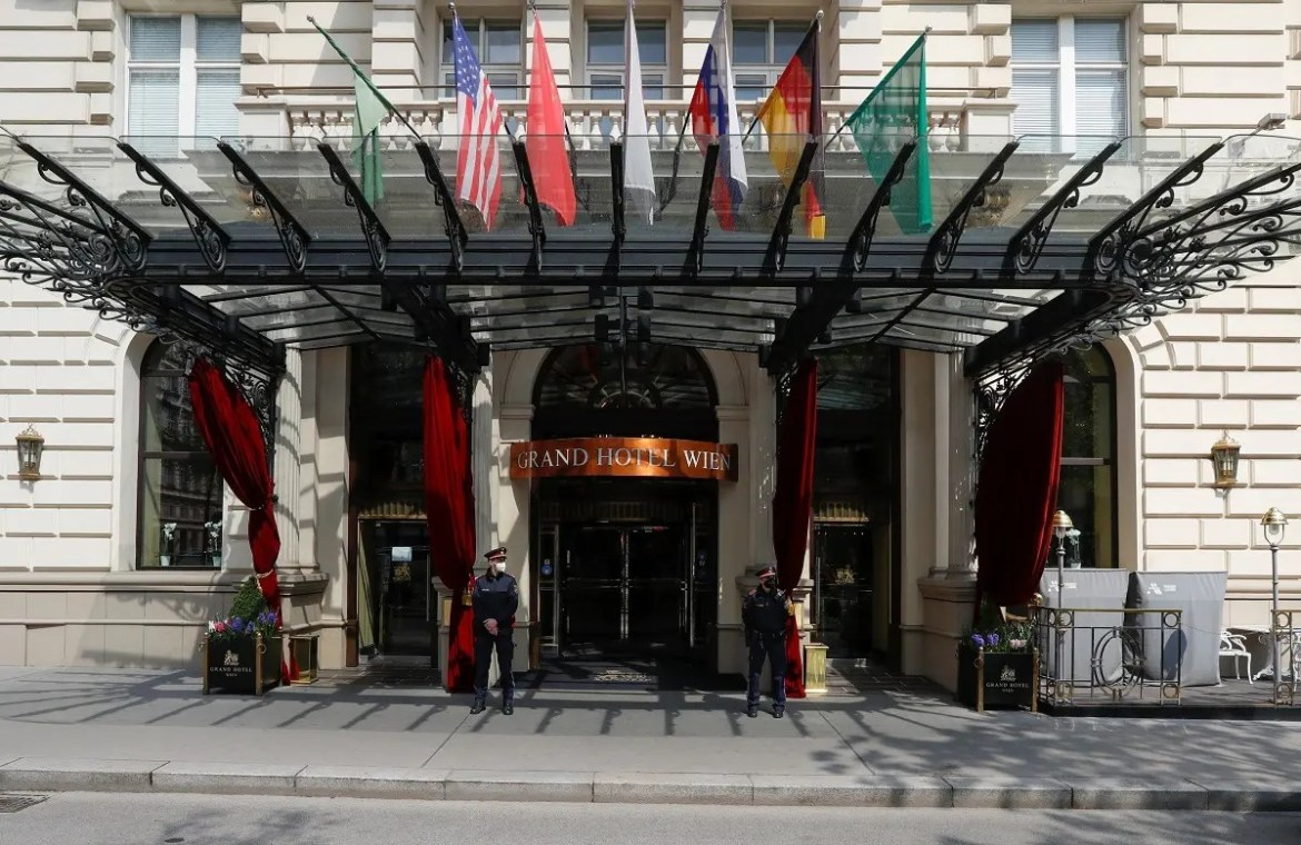 Police stand outside a hotel where a meeting of the JCPOA is held in Vienna, Austria, April 20, 2021. (Reuters)