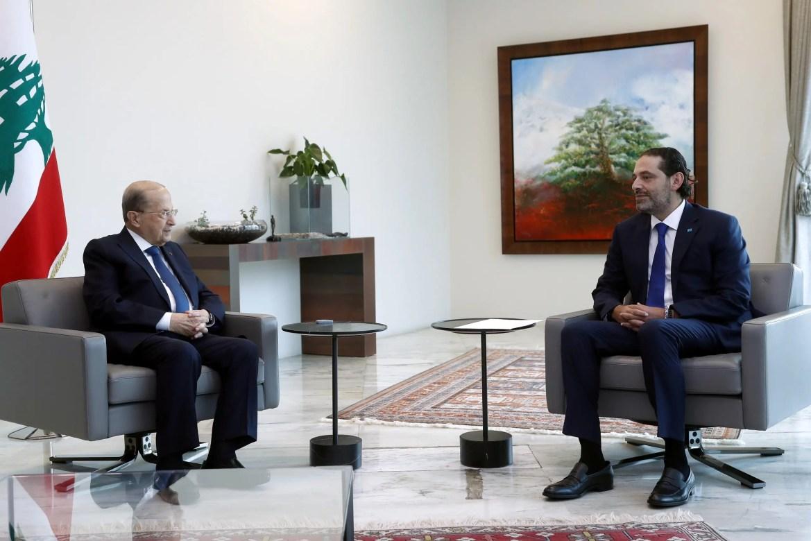 Lebanon's President Michel Aoun with Saad al-Hariri at the presidential palace in Baabda, Lebanon. (File photo: Reuters)