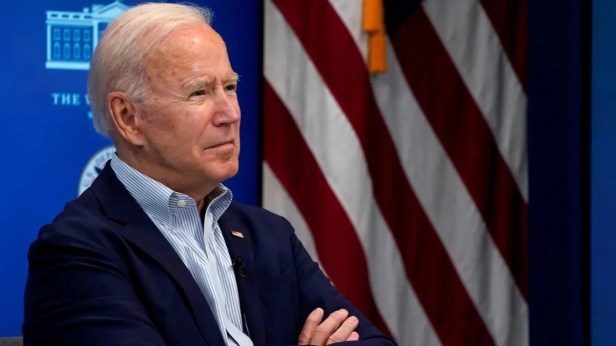 President Joe Biden attends a virtual briefing on preparations for Hurricane Ida at the White House, Aug. 28, 2021. (Reuters)