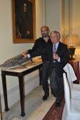 Rafael Anson y Guillermo Lopez con el esturión ibérico