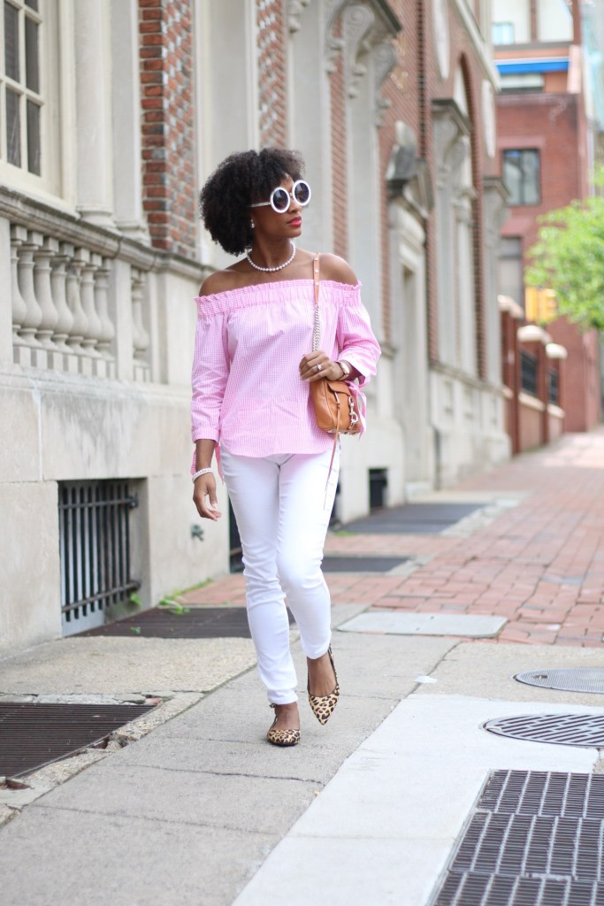 Pink Gingham OTS Top4