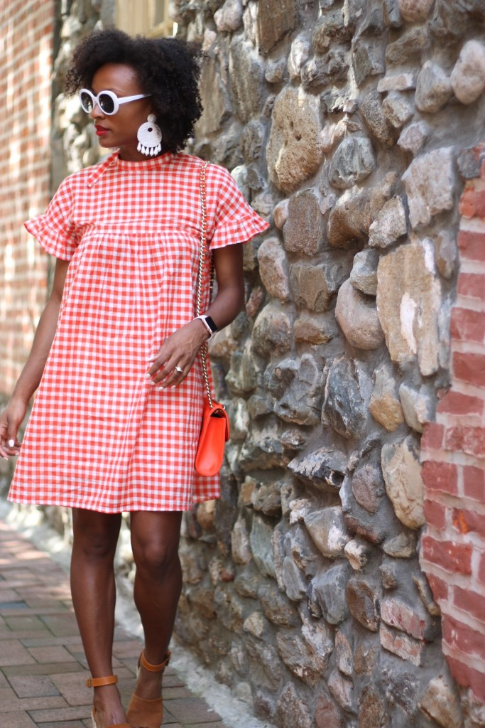 Orange Gingham Dress7