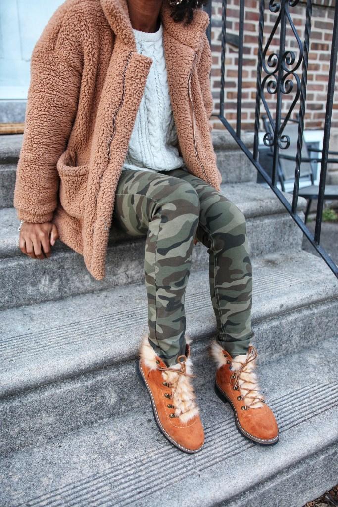 Faux Fur Combat Boots