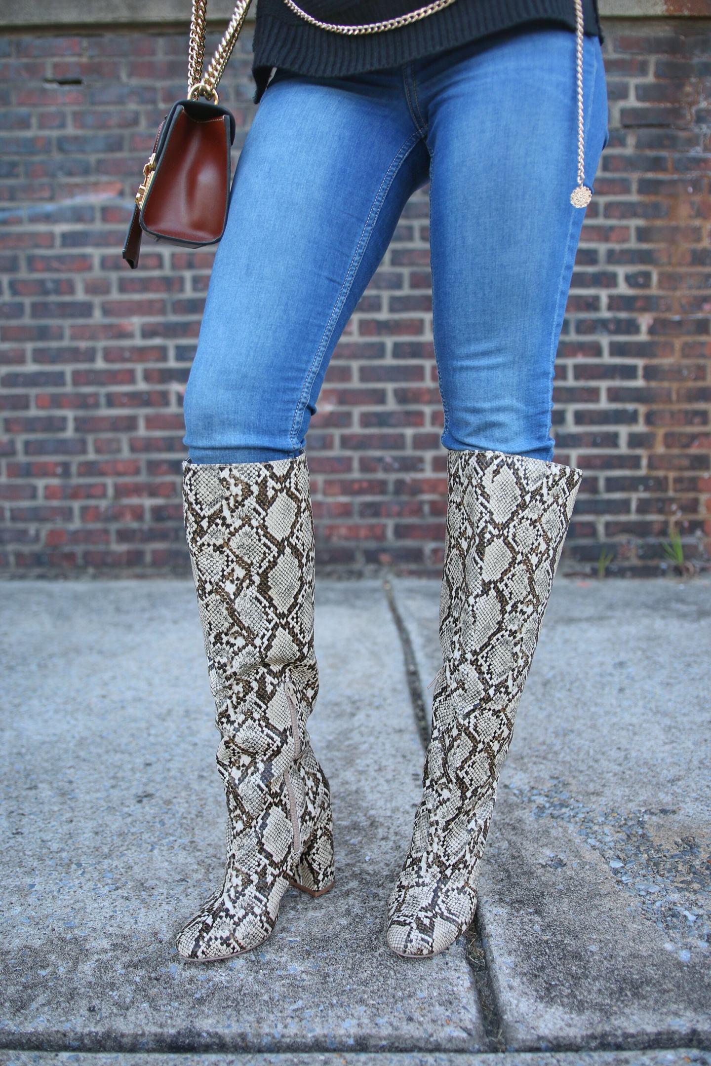 Snakeskin OTK Boots
