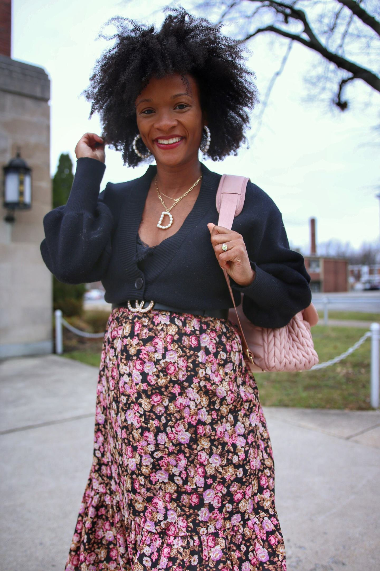 Pink Floral Maxi Skirt