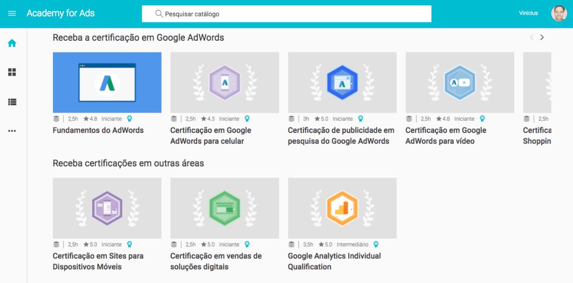 Academy para Certificado em Adwords: texto em português e vídeos com legendas