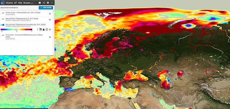 Anomalía de temperaturas en Europa, 21 de julio de 2018. NASA-JPL-PO.DAAC