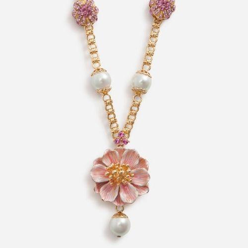 collar de flores y perlas D&G