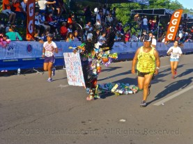 The Eagle, made out of recyclables, running the race
