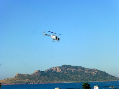 Helicopter over Deer Island