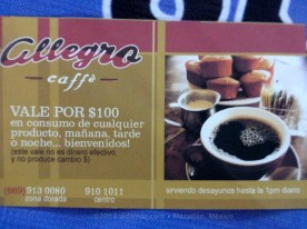 100 peso certificate for Cafe Allegro