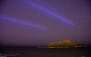Laser lights over Deer Island