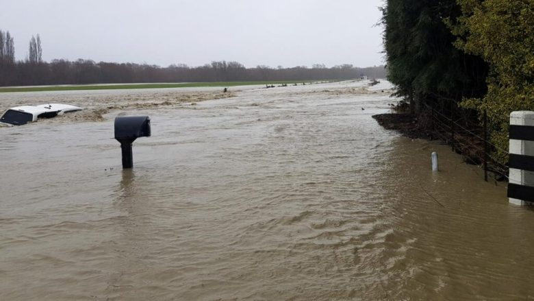 Heavy rain has caused widespread flooding in New Zealand's Canterbury region.
